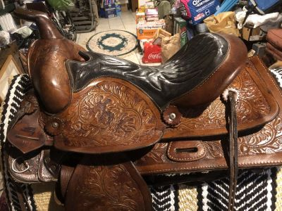 Simco Pleasure / Trail Saddle Fully tooled top quality leather Made in USA