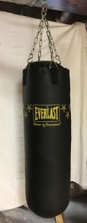 Punching bag and gloves.