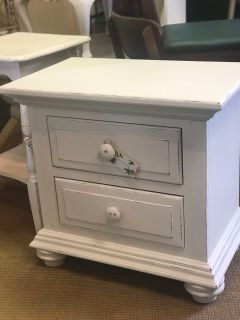 Nightstand/Bedside Table - Shiplap White