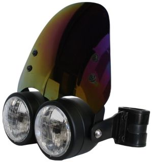 Find Black Dual 4.5in H4 Headlight w/ 54 - 57mm Brackets & Iridium Shield Motorcycle motorcycle in Ashton, Illinois, US, for US $264.99