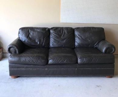 Thomasville Gray Leather Sofa / Couch