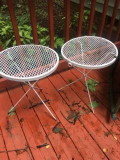 Pair Vintage Wrought Patio Accent Tables