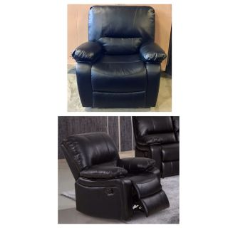 Evelyn Black Leather Gel Reclining Rocking Chair