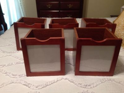 """Set of five wooden storage cubes. 9""""x9""""x9"""". Wood with plastic frame fronts to customize. A little worn on some edges."""