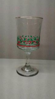 STUNNING CHRISTMAS PEDESTAL GLASS! HAS A GOLD RIM! PLEASE ENLARGE PIC TO SEE!