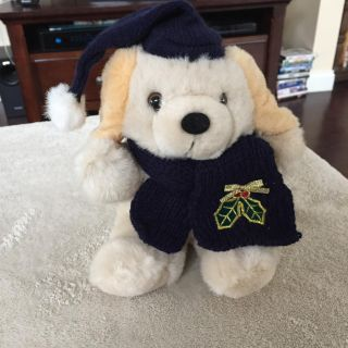 Christmas Puppy with blue scarf, New