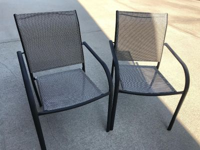 Set of 4 Stackable Patio Armchairs in Oiled Rubbed Bronze Finish