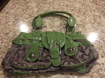 Green and brown purse