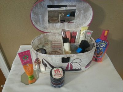 Make-up Case full of make-up and hair products