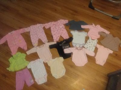 0 to 3 month girl baby clothes lot