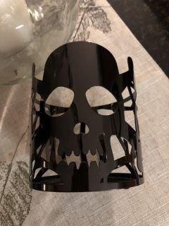 New Black Skull with Spider and Web Metal Jar Candle Holder