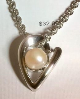 Large natural pearl heart shaped necklace original unopened condition