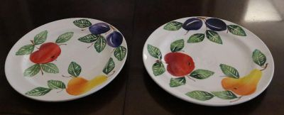 """Rare / Hard to find -- Hand Painted Dinner / Serving Plates 11"""""""