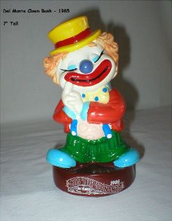 Vintage Coin Bank - Del Monte Big Top Bonanza Clown - 1985