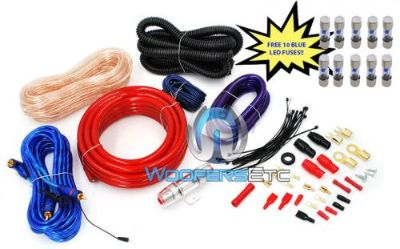 Buy pkg 10 FUSES & PD-4KIT AMP CABLES 4 AWG WIRE 2500W CAR AMPLIFIER RCA INSTALL KIT motorcycle in Los Angeles, California, United States, for US $39.99