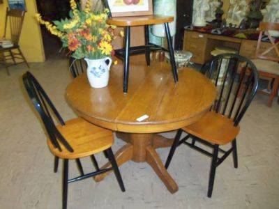 Vintage Round Table with Four Newer Chairs