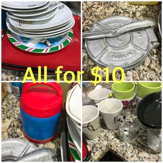 Different plates, cups etc. All for $10