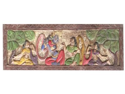 Vintage Headboard Handcarved Krishna Wooden Wall Sculpture Indian Art Home Decor