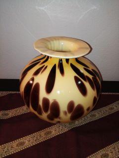 Designer Handmade Blown Murano Glass Spotted Leopard Italian Vase by Artisan Maestri Vetrai