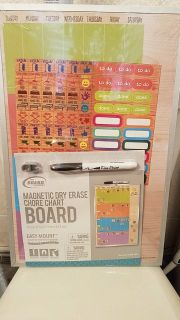 Brand New easy hang magnetic dry erase chore board! Slide pics for size