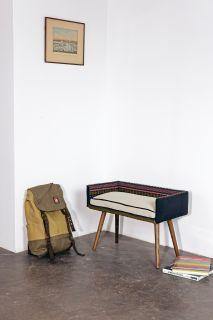 Vanity-sized stool: Folklorica w/White Sand Seat