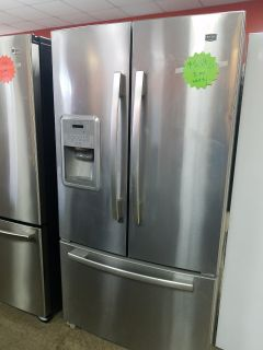 Maytag French doors stainless steel refrigerator excellent condition full
