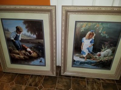 Home Interior / Boy & Girl By The Water / 2 Piece Picture Set