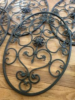 """Set 5 Scroll Wall Decor Metal Grille Panel Floral Iron 24"""" x 15"""""""