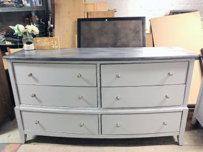 "GORGEOUS Tall Distressed Dresser with 6 drawers-67""x37.5""x19""- refinished in light grey with washed top-220$"