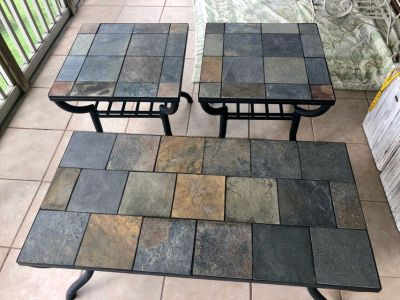 OUTDOOR FURNITURE: Black Metal and Tile Top Coffee Table and 2 Matching End Tables
