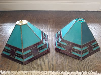 Southwest turquoise stained glass lampshades