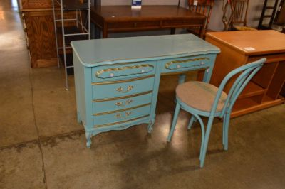 Painted Teal Desk with chair