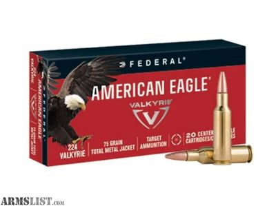 For Sale: FEDERAL AMERICAN EAGLE 224 VALKYRIE 75 GR FMJ - 20 ROUNDS