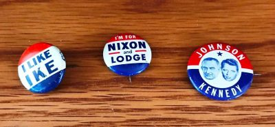 Lot of 3 Political Buttons IKE, Nixon and Lodge, Johnson and Kennedy
