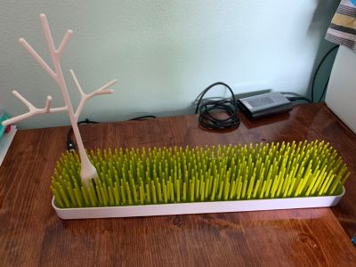 Boon baby bottle drying grass with tree