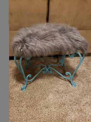 Turquoise Glitter and Gray fur wrought iron vanity bench