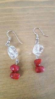 Red and Clear Stone Earrings