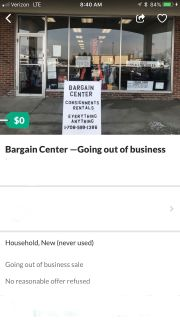 Bargain center- going out of business