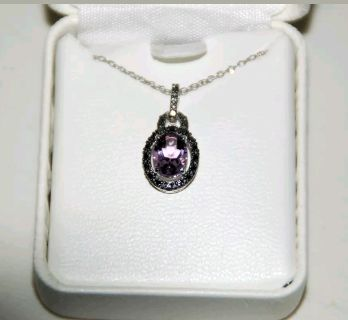 NEW! Sterling Silver Genuine Amethyst & Diamond Necklace!