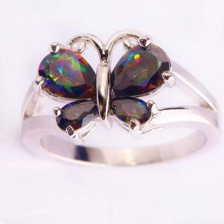REALSTERLING SILVER MYSTIC TOPAZ BUTTERFLY RING....SIZE 6