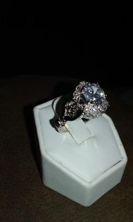 Size 8 White Sapphire Ring in Sterling Silver