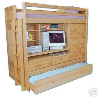 Twin Size Solid Birch Loft Bed W/Trundle, Drawers, Desk, & Tons of Storage Area