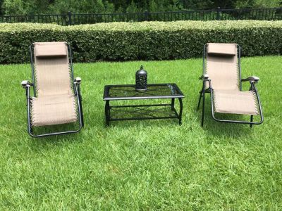 Chair Patio Chaise Lounge Chairs Outdoor Yard Pool Recliner Folding & Table Set