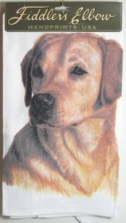 Fiddlers Elbow Yellow Retriever Dog Dish Tea Towel Made in the USA