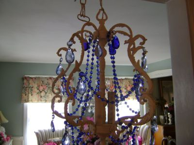 shabby chic chandelier with blue prisms and beads