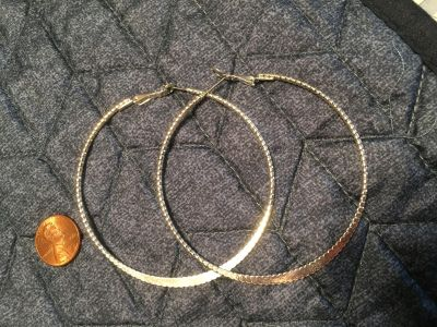 Large silver hoops - EUC