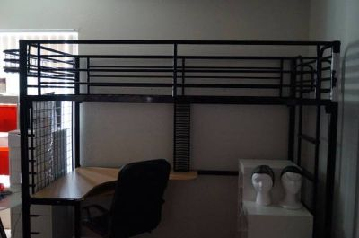 Student steel loft bed with desk