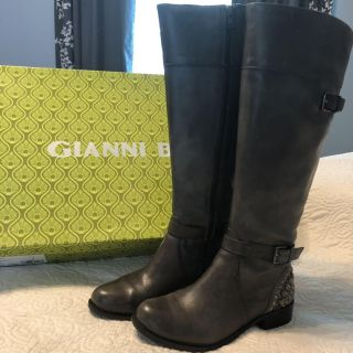 Dark Gray leather boots
