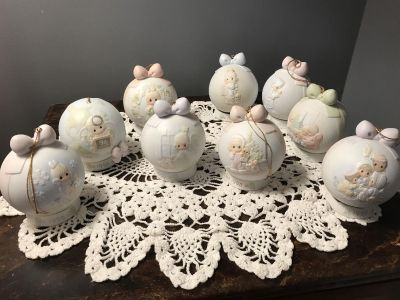 Set of 9 Precious Moments Dated Christmas Ornaments