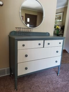 Industrial Simmons dresser with mirror